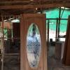 ประตูไม้สักกระจกนิรภัยวงรีเต็มบาน เกรดA รหัส AA59