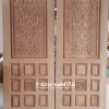 ประตูไม้สักบานเดี่ยว แกะดอกไม้ เกรดA รหัส CC58