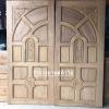 ประตูไม้สักบานคู่ ลูกฟักแกะ เกรดA รหัส B06