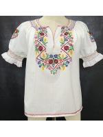เสื้อวินเทจ Hungarian White Blouse Floral Handembroidered