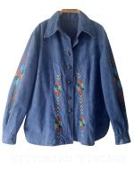 เสื้อยีนส์ วินเทจ ปัใจกมือ Vintage Denim Embroidered