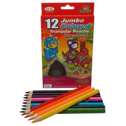 ดินสอสีไม้จัมโบ้แท่งยาว สามเหลี่ยม 12 สี/กล่อง