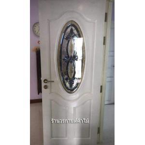 ประตูไม้สักกระจกนิรภัยวงรีสีขาว รหัส AAA138