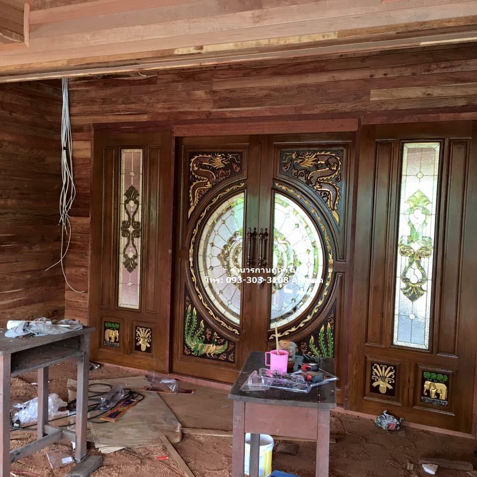 ประตูไม้สักบานคู่กระจกนิรภัยชุด4ชิ้น รหัส AAA160