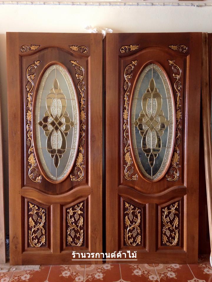 ประตูไม้สักกระจกนิรภัยวงรี แกะองุ่น เกรดA รหัส A28