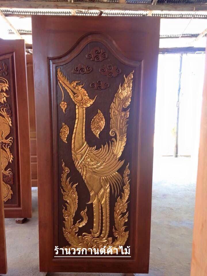 ประตูไม้สักบานเดี่ยว แกะหงส์ไทย เกรดA รหัส C14