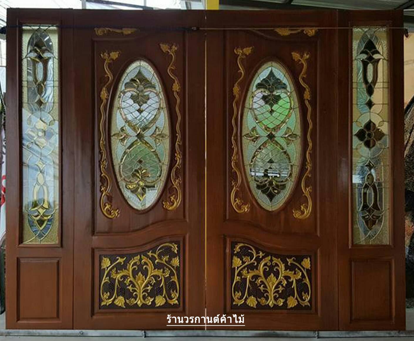 ประตูไม้สักกระจกนิรภัยวงรีแกะองุ่น ชุด4ชิ้น รหัส AAA87