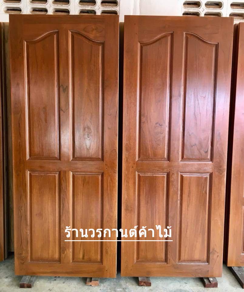 ประตูไม้สักบานเดี่ยว 4ฟักปีกนก เกรดA, B+ รหัส C80