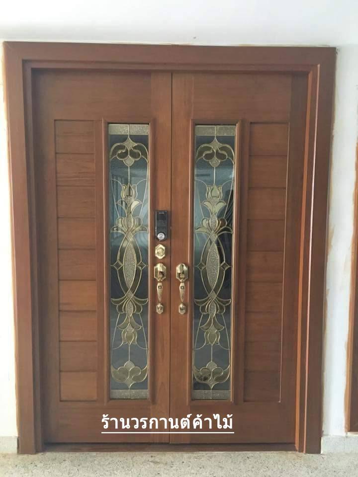 ประตูไม้สักกระจกนิรภัย สไตโมเดิร์น รหัส AAA22