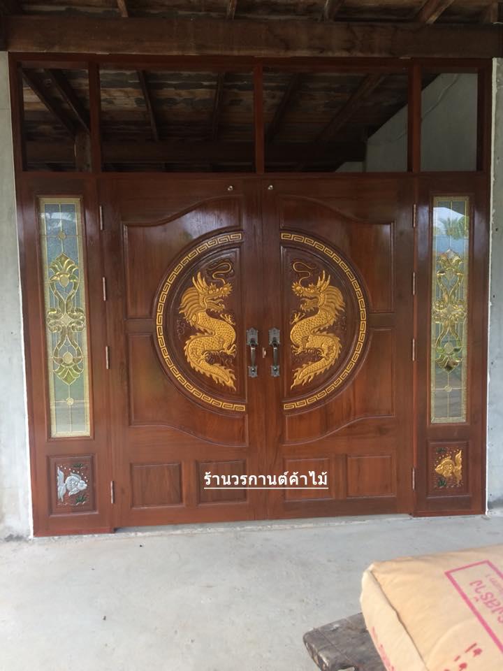 ประตูไม้สักบานคู่ แกะมังกร บานเปิด-ปิด ชุด 4ชิ้น รหัส BBB02