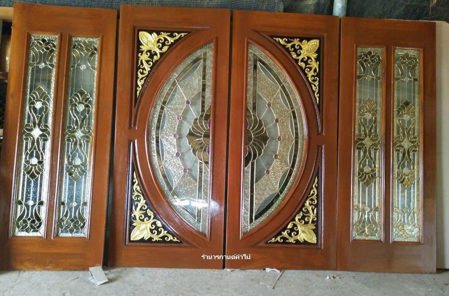 ประตูไม้สักกระจกนิรภัยแตงโมเต็มบาน ชุด4ชิ้น รหัสAAA100