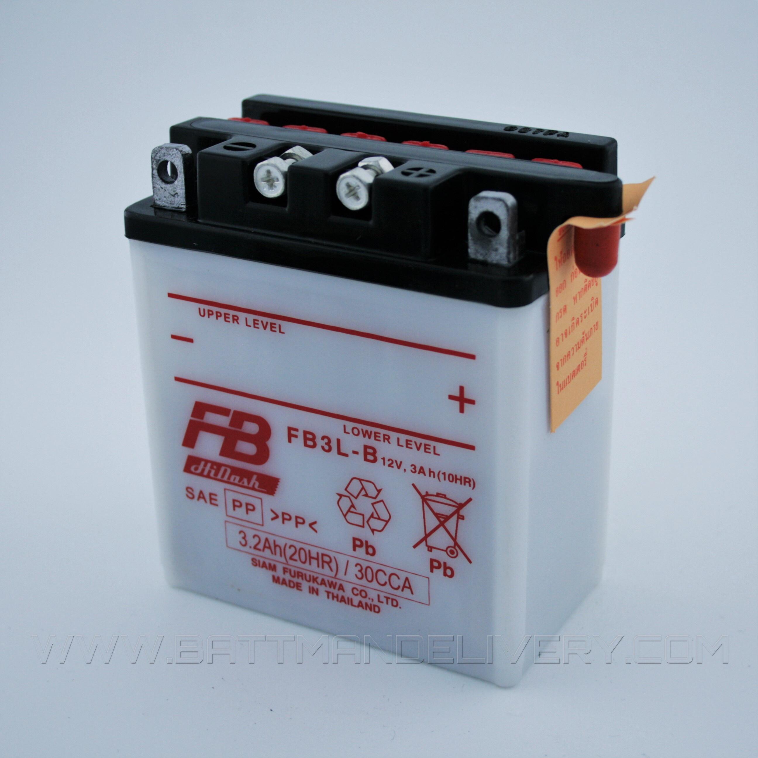 แบตเตอรี่มอเตอร์ไซค์ แบบน้ำ ยี่ห้อ FB รุ่น FB3L-B (12V 3AH) สำหรับรถรุ่น PHANTOM150/LS125/AKIRA/RU100/BEATNOVA DASH/MAGNUM/KR150/VICTOR