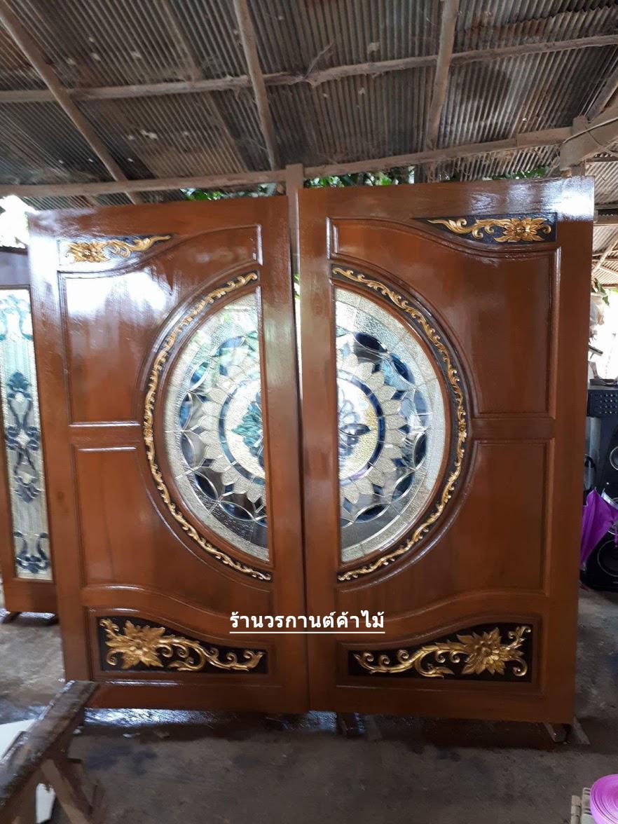 ประตูไม้สักกระจกนิรภัย แตงโม เกรดA รหัสA18