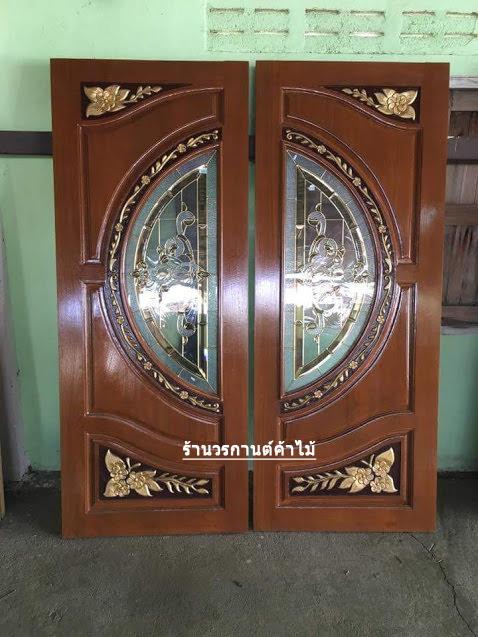 ประตูไม้สักกระจกนิรภัย แกะดอกไม้ เกรดA รหัส A75