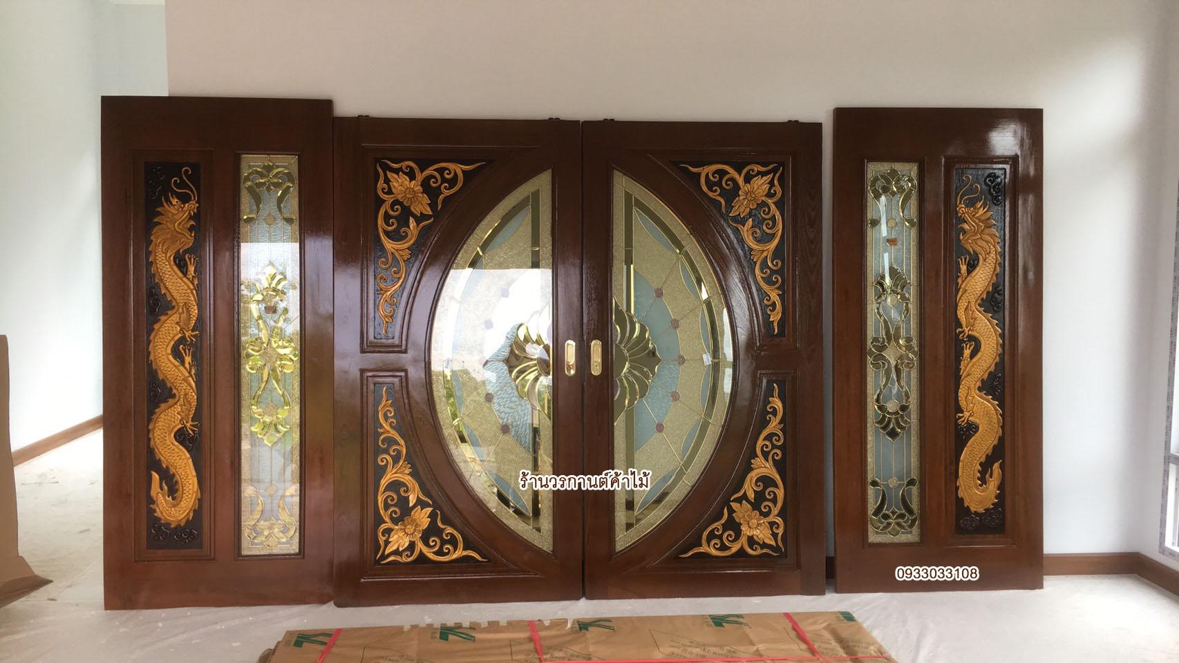 ประตูไม้สักกระจกนิรภัยแตงโมเต็มบาน ชุด4ชิ้น เกรดA รหัส AAA45