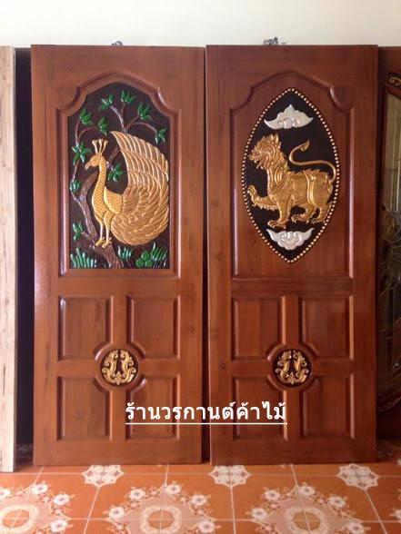 ประตูไม้สักบานเดี่ยว เกรดA, B+ รหัส C60