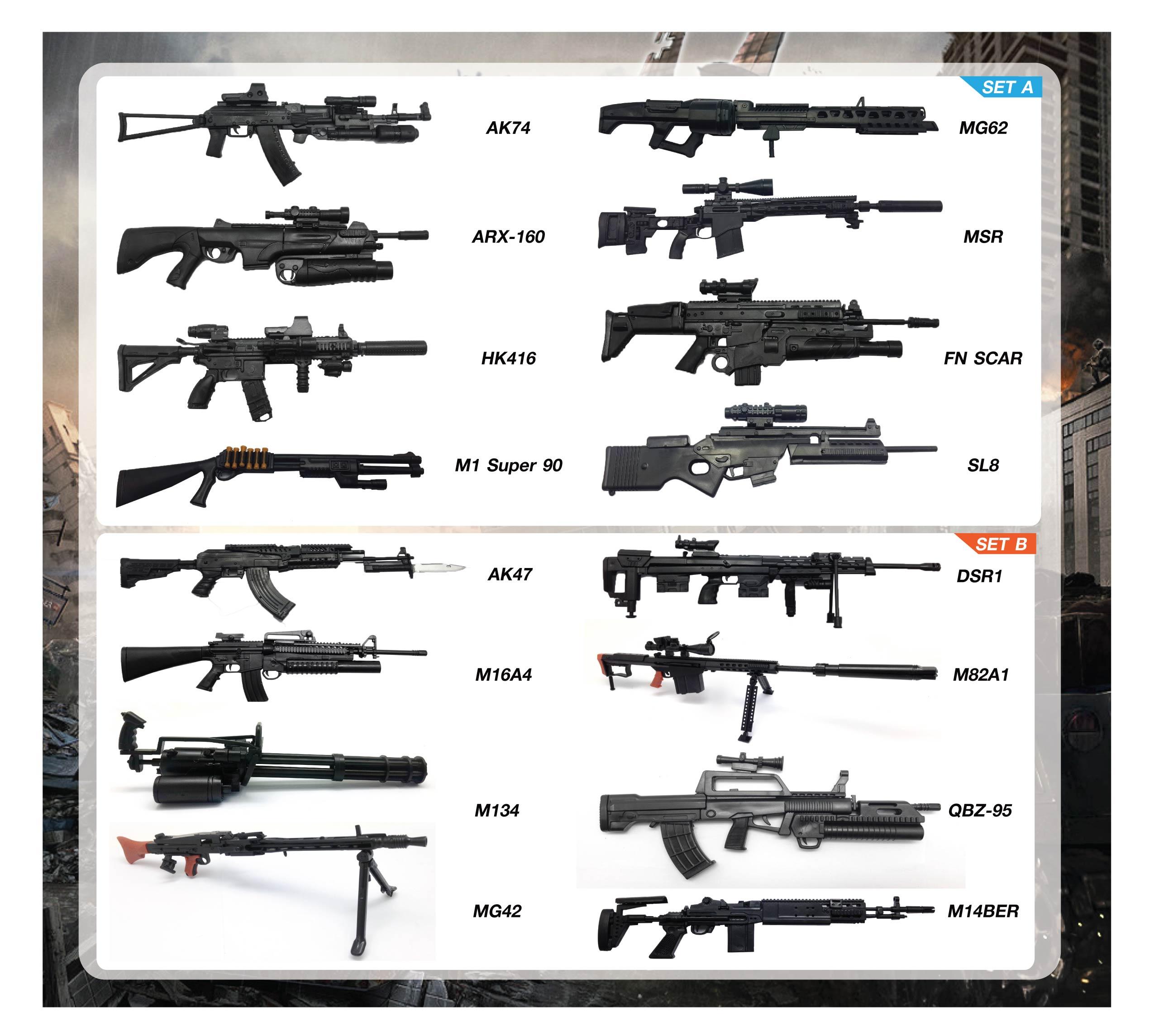 ชุดรวม โมเดลอาวุธปืนทหาร Series 1