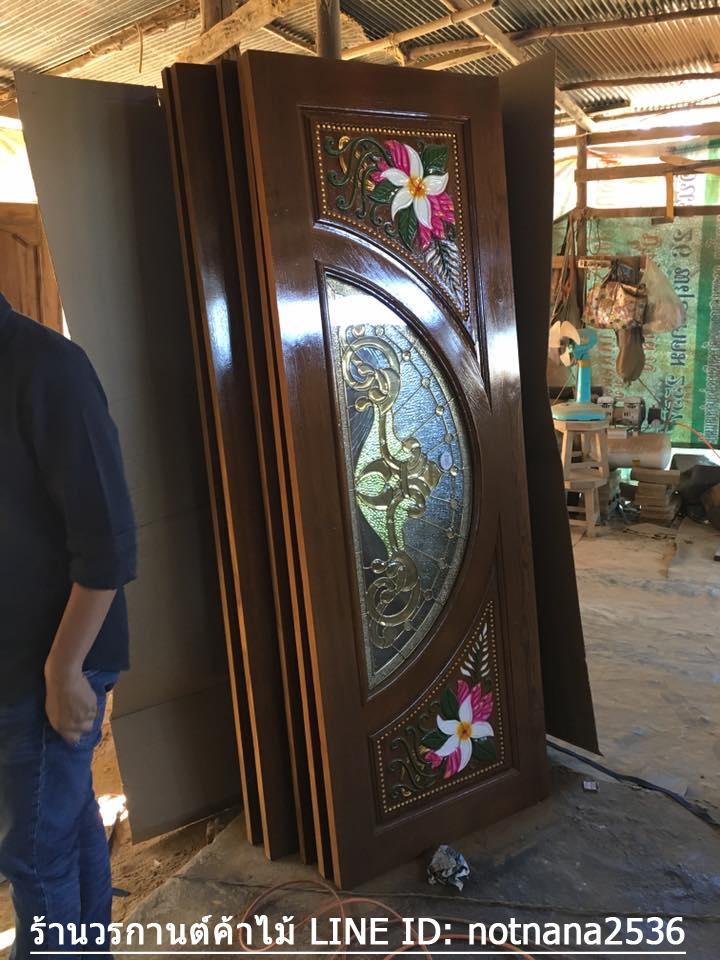 ประตูไม้สักกระจกนิรภัย แกะดอกไม้ เกรดA รหัส A95