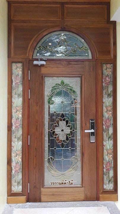 ประตูไม้สักกระจกนิรภัย ชุด2ชิ้น รหัสAAA27