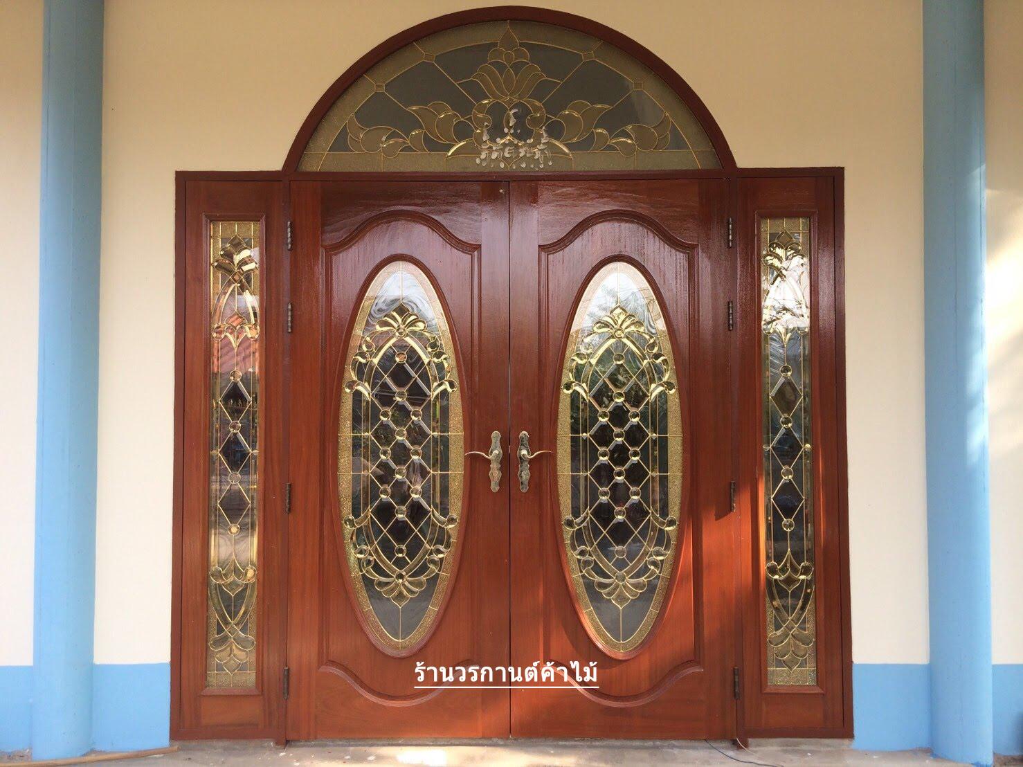 ประตูไม้สักกระจกนิรภัย ชุด5ชิ้น รหัส AAA93