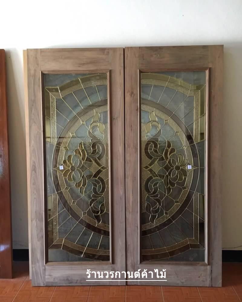 ประตูไม้สักกระจกนิรภัย เต็มบาน เกรดA รหัส AA18