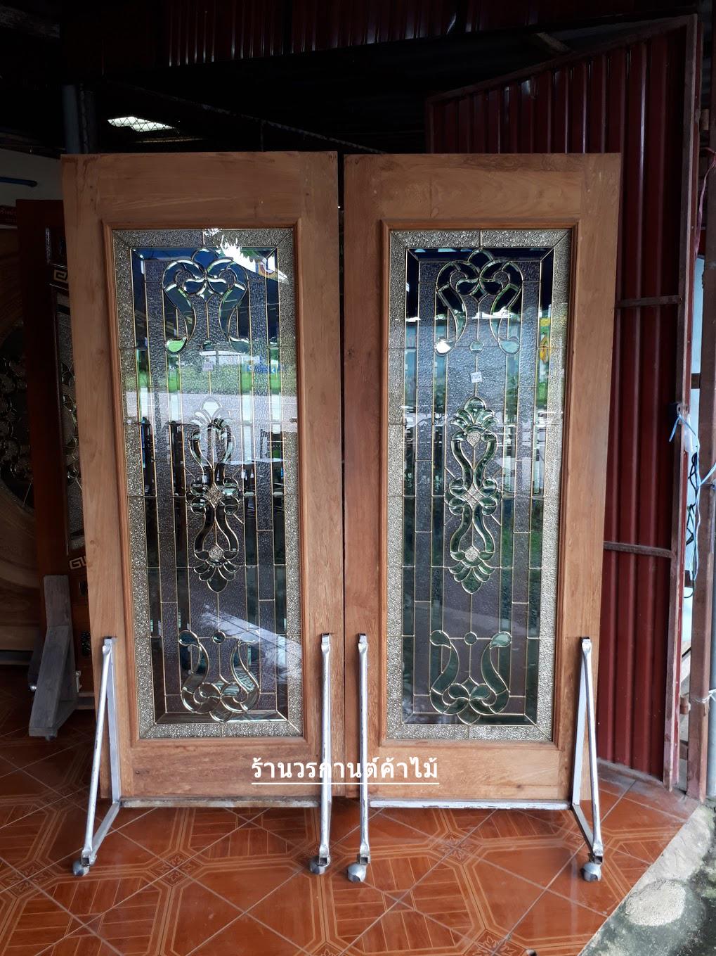 ประตูไม้สักกระจกนิรภัย หลุยเต็มบาน เกรดA รหัส AA29