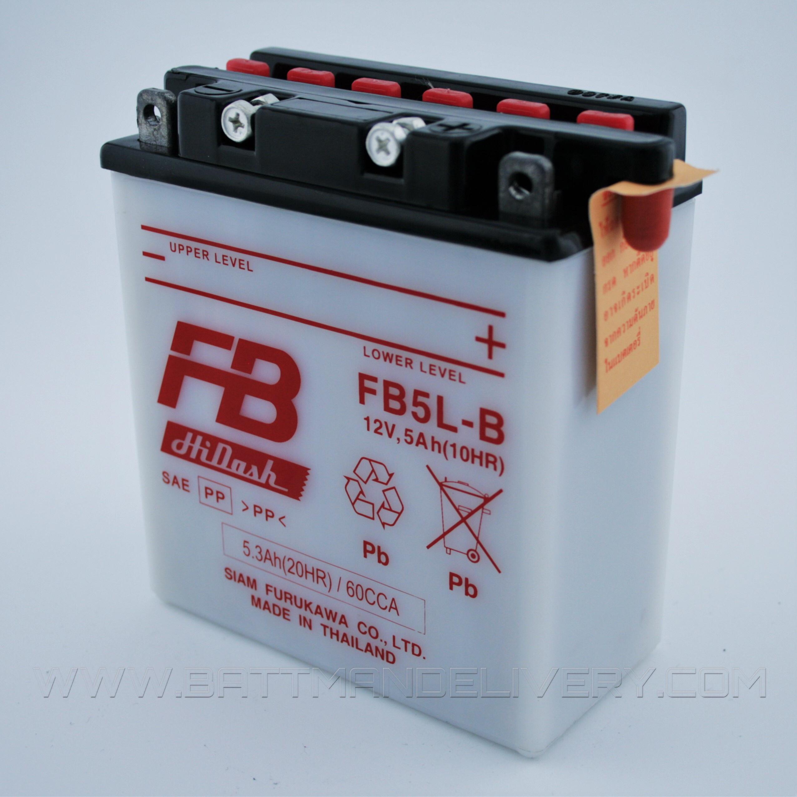 แบตเตอรี่มอเตอร์ไซค์ แบบน้ำ ยี่ห้อ FB รุ่น FB5L-B (12V 5AH) ใช้กับรถรุ่น SPARK,R,X,Z/SPARK135/SPARKNANO/DREAM(สตาร์ทมือ)/MIO AMORE