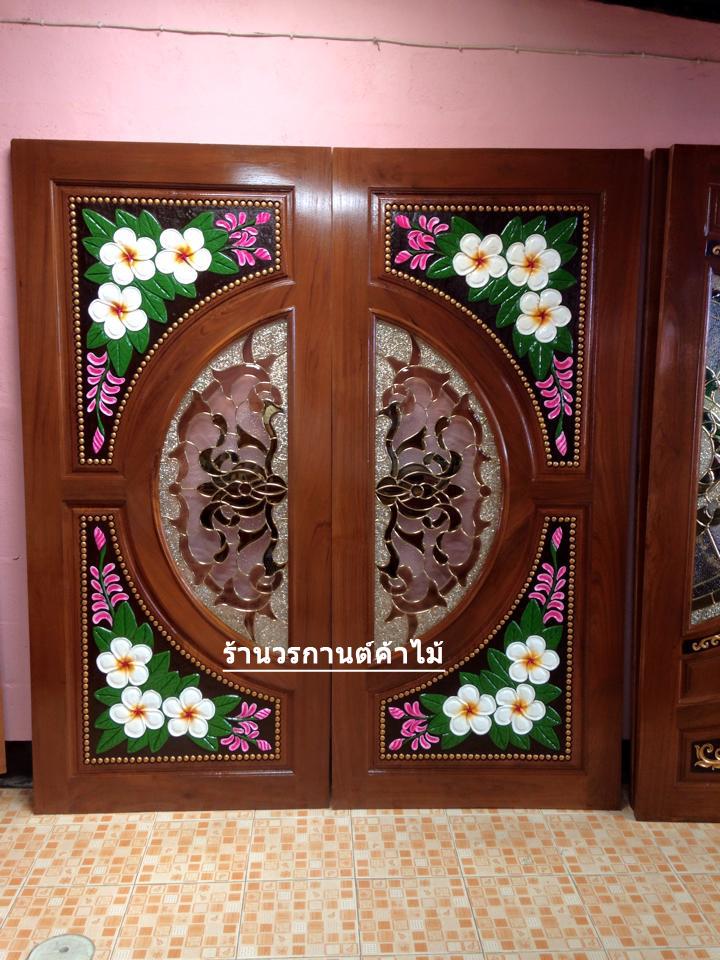 ประตูไม้สักกระจกนิรภัย แกะดอกลีลาวดี เกรดA รหัส A11