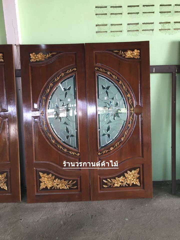 ประตูไม้สักกระจกนิรภัย แกะดอกไม้ลีลาวดี เกรดA รหัส A79