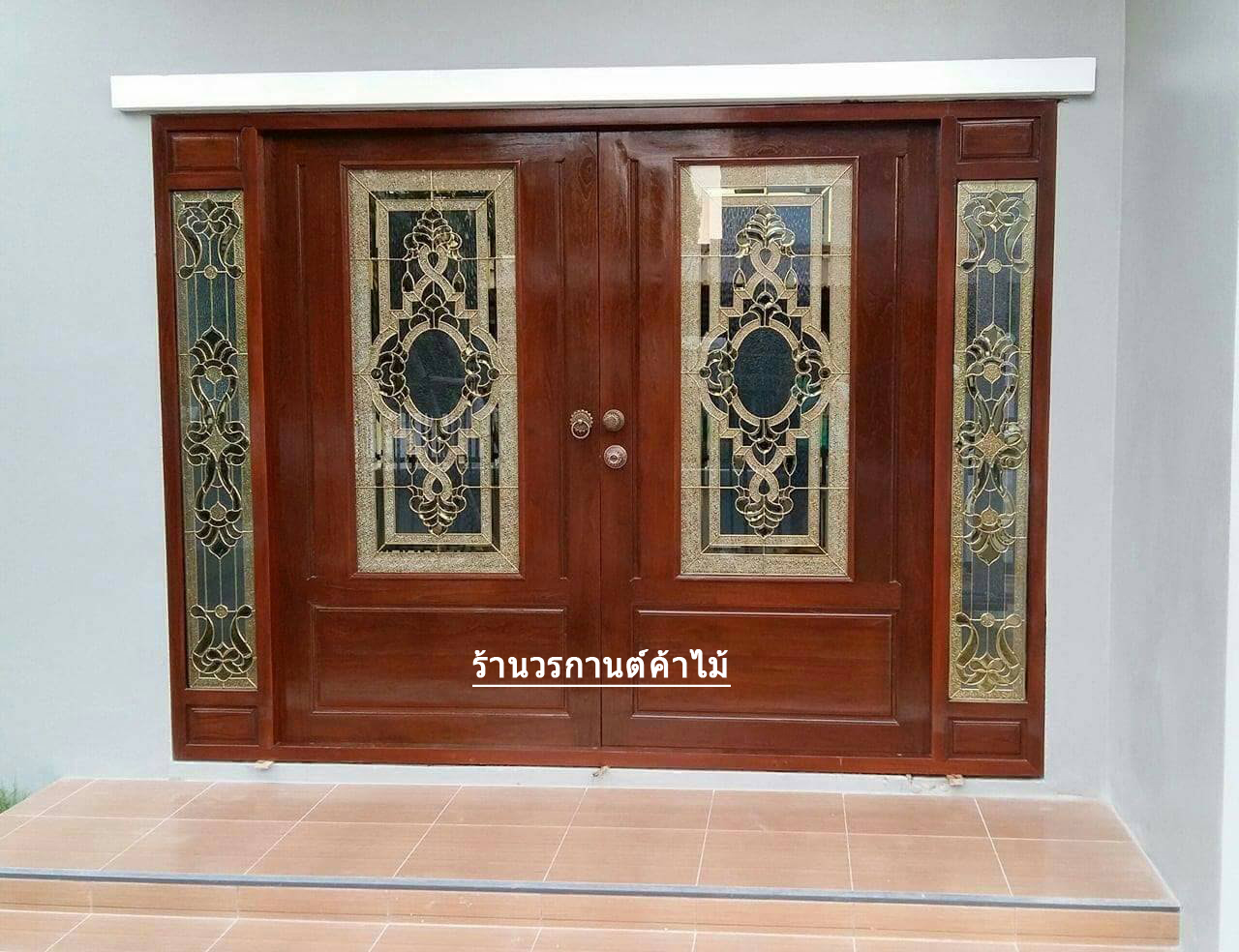 ประตูไม้สักกระจกนิรภัยครึ่งบานเลื่อน ชุด4ชิ้น รหัสAAA28