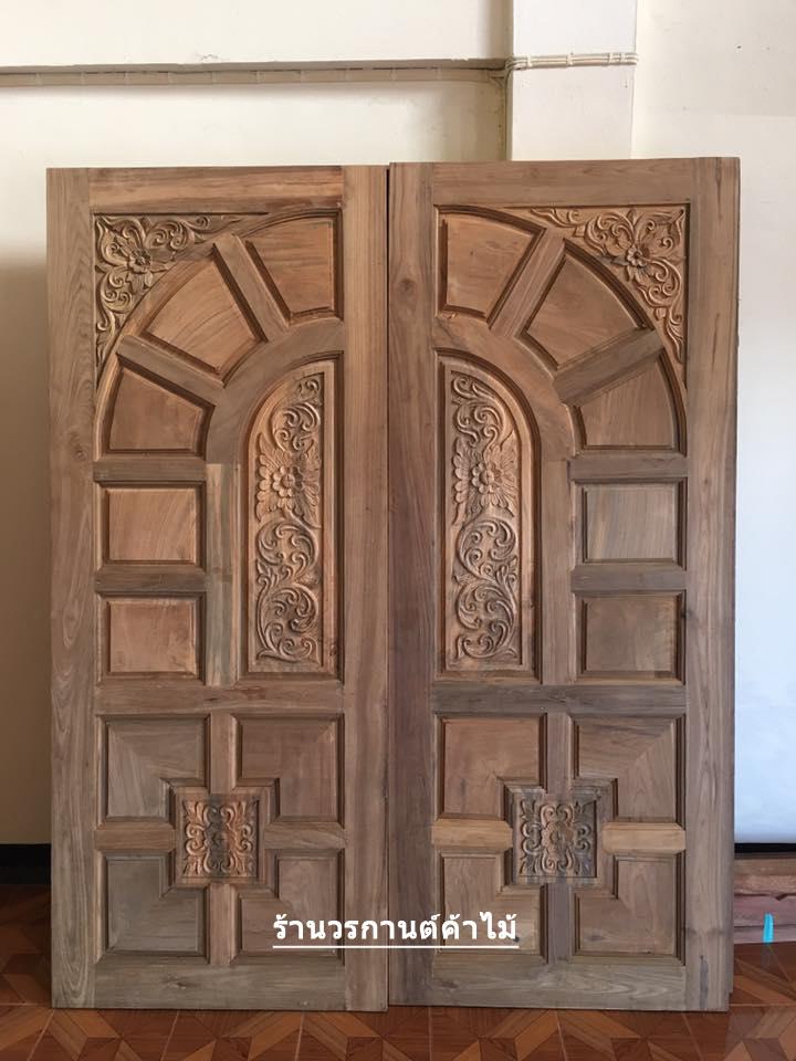 ประตูไม้สักบานคู่ ลูกฟักแกะ เกรดA รหัส B10
