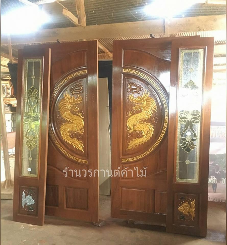 ประตูไม้สักบานคู่แกะมังกร บานเฟี้ยมแกะปลา ชุด4ชิ้น รหัส AAA53