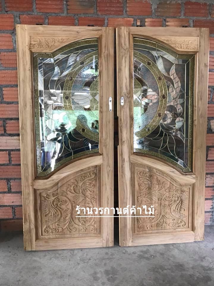 ประตูไม้สักกระจกนิรภัยปีกนก เกรดA รหัส AA61