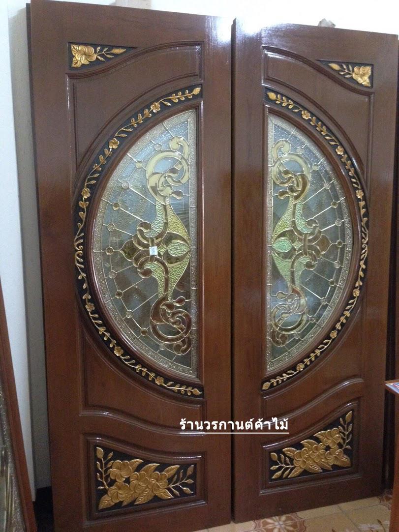 ประตูไม้สักกระจกนิรภัย แกะดอกไม้ เกรดA,B+ รหัส A102
