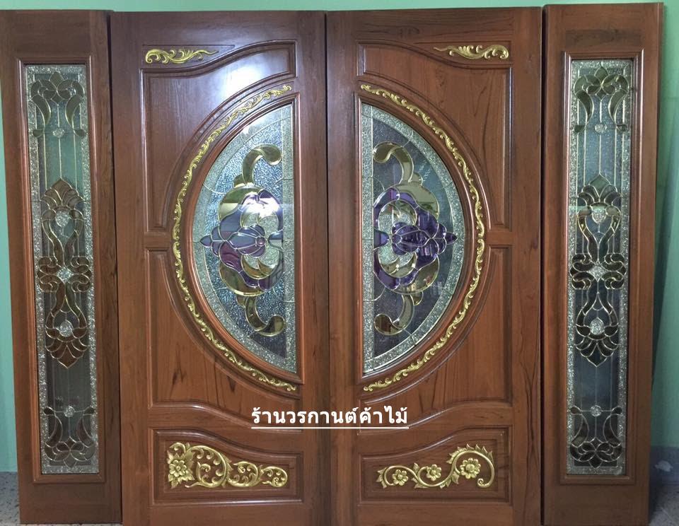 ประตูไม้สักกระจกนิรภัยบานเฟี้ยม ชุด4ชิ้น รหัส AAA116