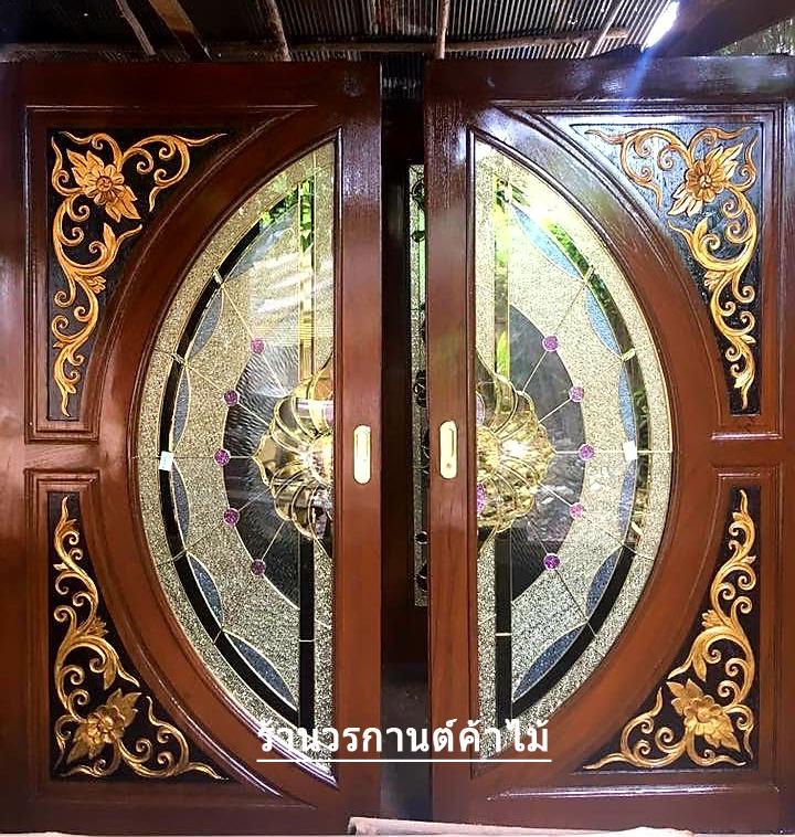 ประตูไม้สักกระจกนิรภัยแตงโมเต็มบาน เกรดA รหัส A134