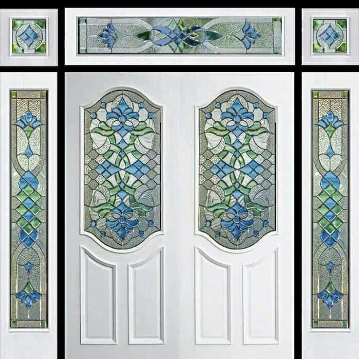 กระจกนิรภัยสเตนกลาส ประตูไม้สัก รหัส G48
