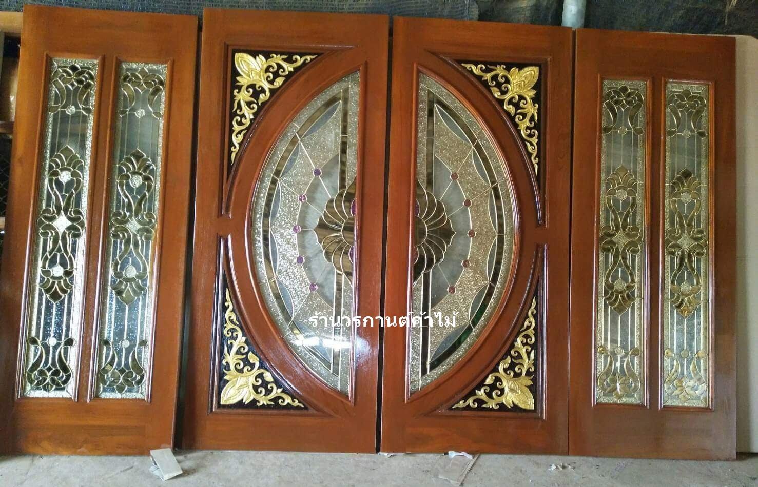 ประตูไม้สักกระจกนิรภัยแตงโมเต็มบาน ชุด4ชิ้น เกรดA,B รหัสAAA127