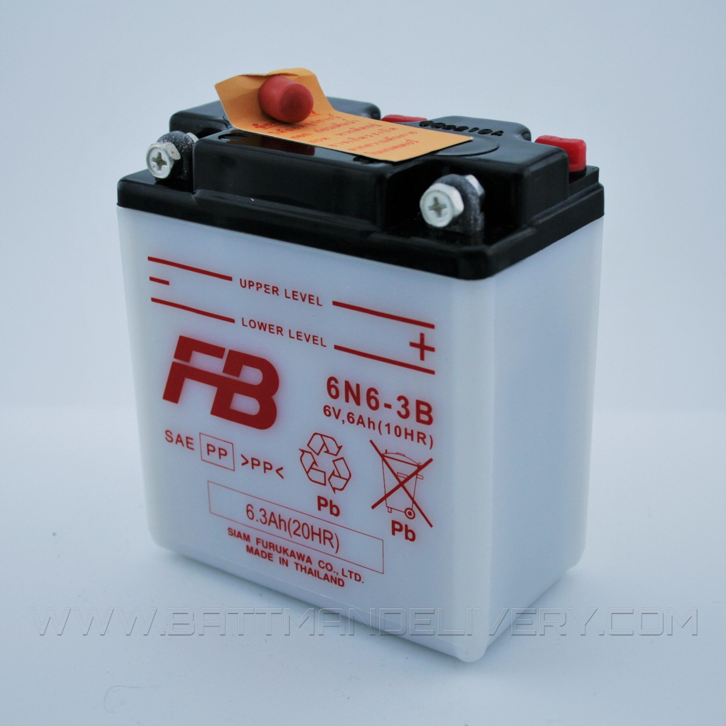 แบตเตอรี่มอเตอร์ไซค์ แบบน้ำ ยี่ห้อ FB รุ่น 6N6-3B (12V 6AH) สำหรับรถรุ่น CB100