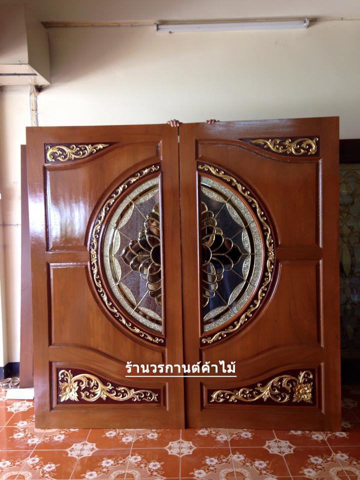 ประตูไม้สักกระจกนิรภัยแตงโม เกรดA รหัส A16