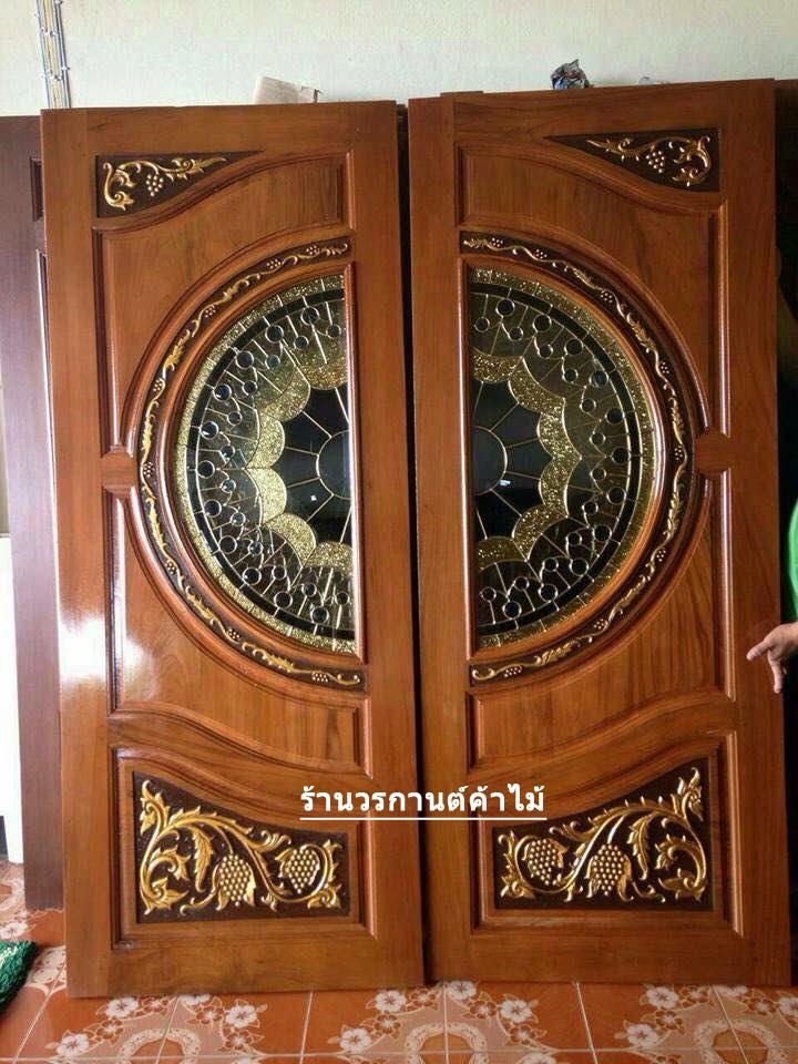 ประตูไม้สักกระจกนิรภัย แกะองุ่น เกรดA รหัส A83