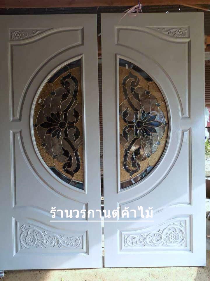 ประตูไม้สักกระจกนิรภัย สีขาว รหัส A116