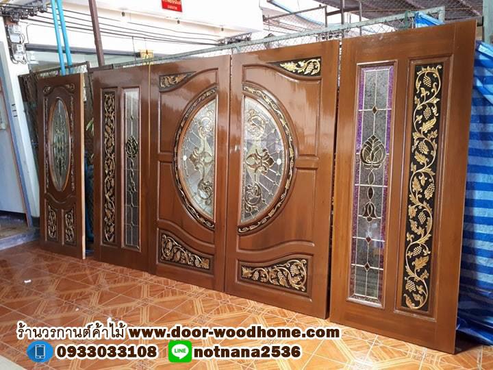 ประตูไม้สักกระจกนิรภัยแกะองุ่น ชุด4ชิ้น รหัสAAA39