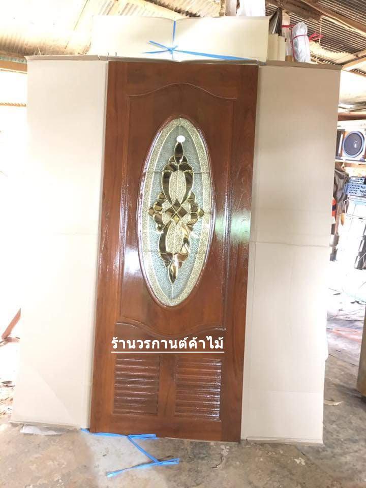 ประตูไม้สักกระจกนิรภัยวงรี เกล็ด เกรดA รหัส A67