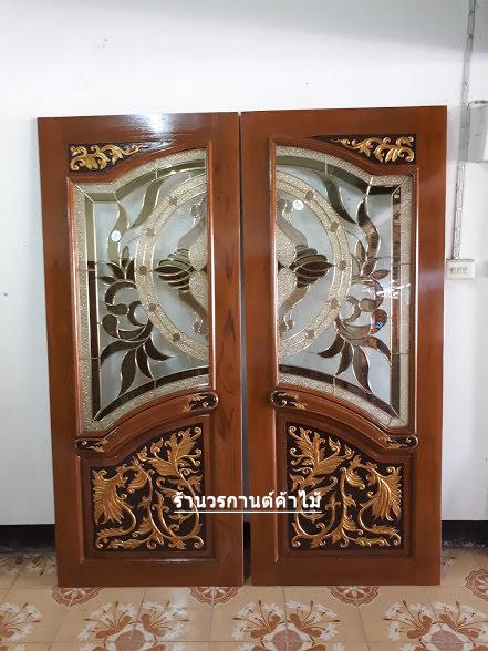 ประตูไม้สักกระจกนิรภัยปีกนกรหัส A01