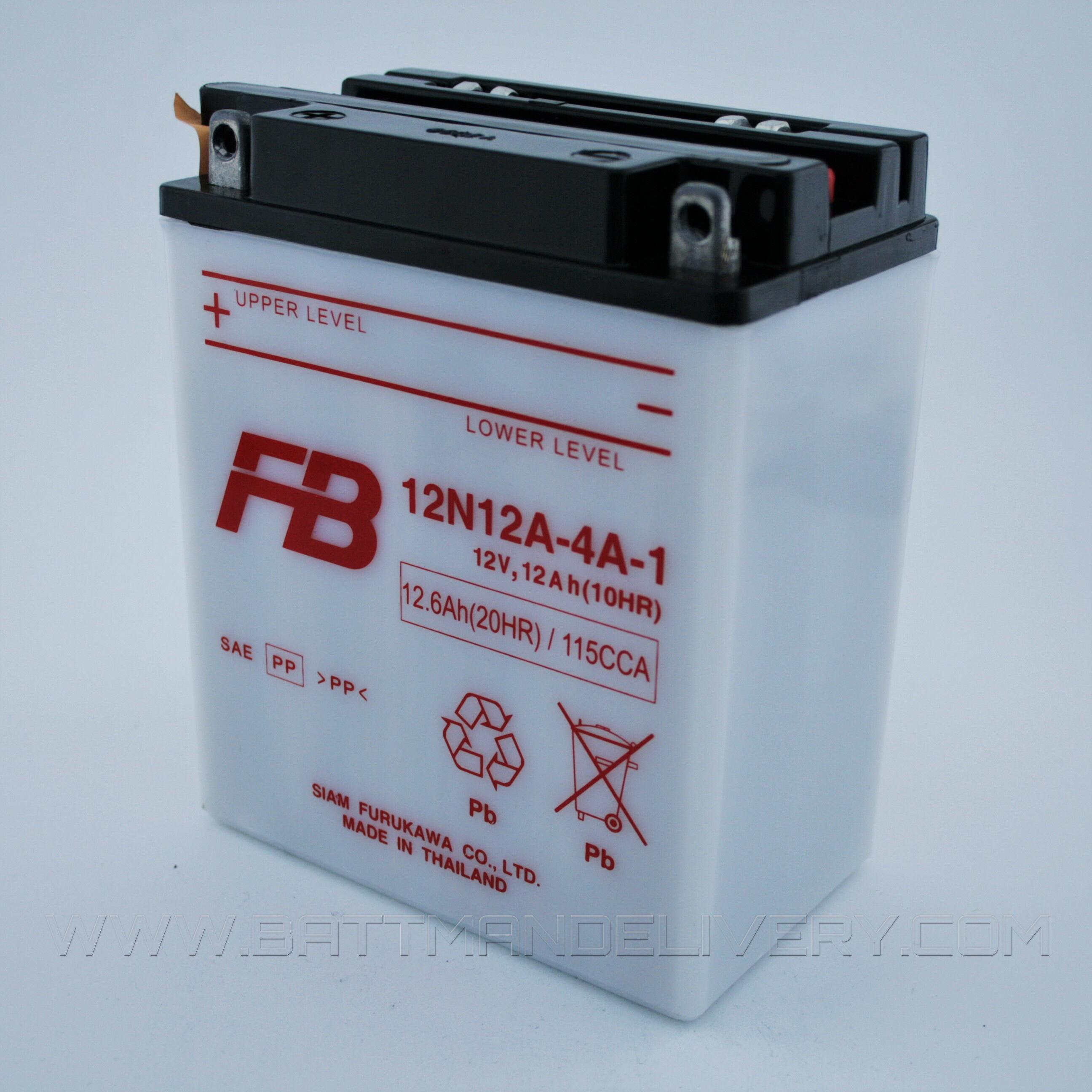 แบตเตอรี่มอเตอร์ไซค์ แบบน้ำ ยี่ห้อ FB รุ่น 12N12A-4A-1 (12V 12AH) สำหรับรถรุ่น CB400,CB500,CB550,DUCATI500,DUCATI750,DUCATI860,SR250,XS400,XJ650