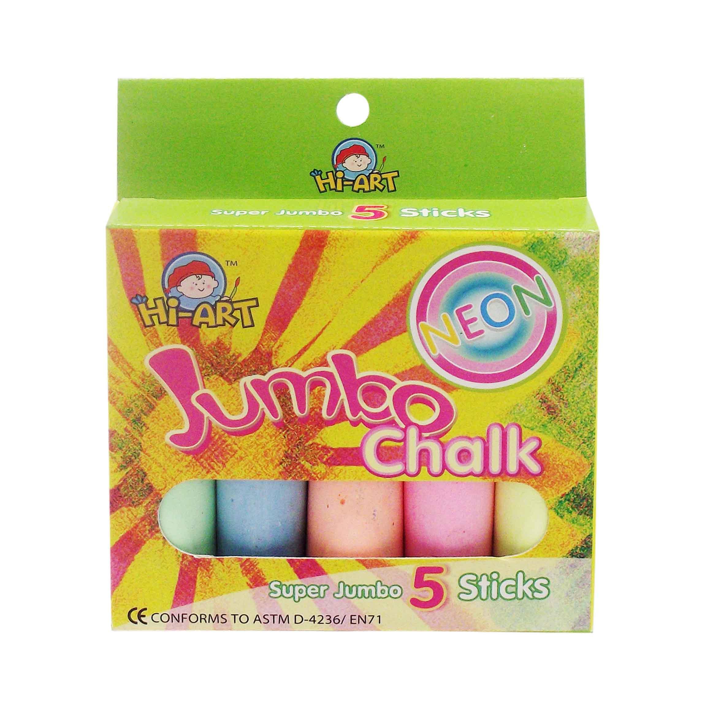 ชอล์คสีสะท้อนแสงขนาดจัมโบ้ 5 แท่ง (Sidewalk Chalks Neon)