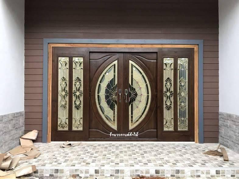 ประตูไม้สักกระจกนิรภัยบานเลื่อนสีโอ็ค ชุด4ชิ้น รหัสAAA11
