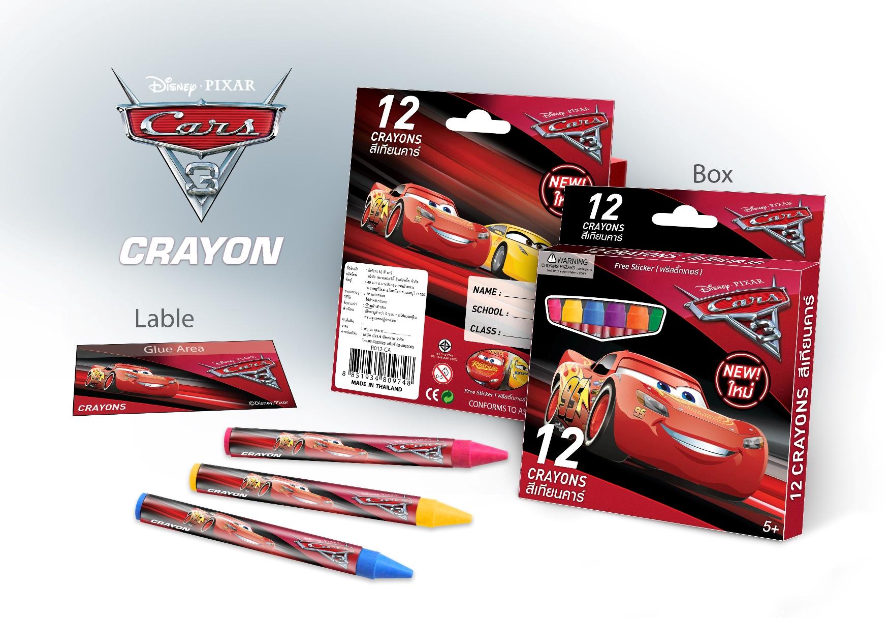 สีเทียนมาตรฐาน12สีเกรด Aลายคาร์ [ Disney Cars Crayons ]