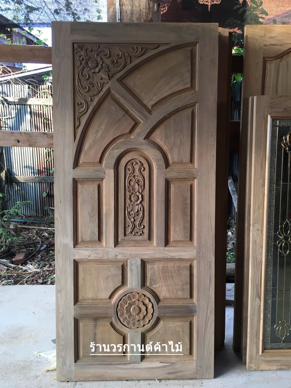 ประตูไม้สักบานคู่ ไม้สักเก่า เกรดA รหัส B12